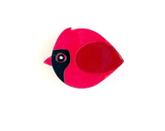 Cardinal magnet handmade from cut paper, bird decor for fridge and happy office spaces