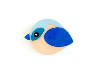 Bluebird magnet handmade from cut paper, bird decor for fridge and happy office spaces