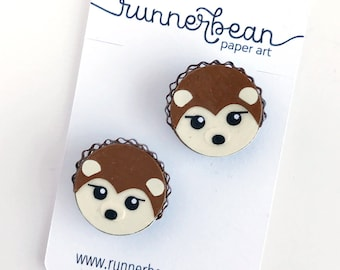 Hedgehog Magnets to add the most adorable touch to your fridge, locker or cubical in a set of TWO, handmade from cut paper