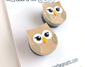Magnets! A pair of adorable Owl Magnets to stick on your fridge, locker or cubical in a set of TWO, handmade from cut paper