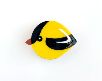 Goldfinch magnet handmade from cut paper, bird decor for fridge and happy office spaces