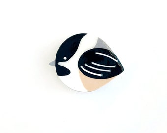 Chickadee magnet handmade from cut paper, bird decor for fridge and happy office spaces