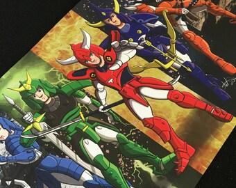 Ronin Warriors, Samurai Poster, 11x17 inches, Samurai Armor, Anime, Warriors, Sakura Blossoms