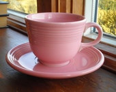 Vintage Fiesta Ware Pink Rose Cup Saucer Set - Retired Fiestaware Tea Cups USA Made 1938-1960, Retro Mug Hostess Wedding Birthday Gift
