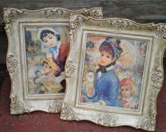 Vintage Living Room Art - French Lady Paintings - Proper Ladies at Outdoor Market - Framed Classic Wall Art Housewarming / Home Decor Gift