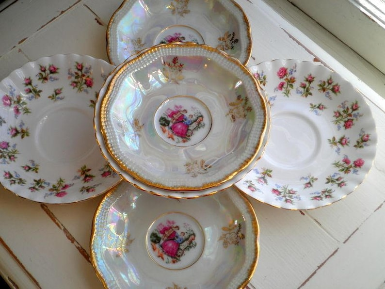 5853ee03b6078 Royal Albert Winsome & Fresh Vintage China Saucers Small Desert Plates Side  Plate Set of 6 - Limoges Courting Couple Floral Rose Bone China