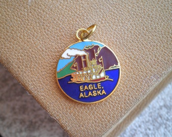 Vintage Eagle Alaska Enamel Souvenir Charm - State of Alaska Love & Pride Necklace Bracelet Jewelry Retro Brass + Enamel Charm Gift