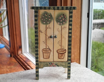 Vintage Dollhouse Cabinet Furniture - Miniature Wooden Cabinet / Hutch / Bookcase - Flowers & Topiaries Hand Painted Garden Art Furniture