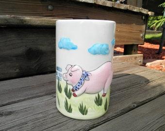 Ceramic Pig Utensil Holder / Planter / Vase - American Bisque Piggy Pottery - Retro Farm Animal Kitschy Housewarming Gift - Pig Lovers Gift