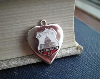 Vintage Washington D.C. Souvenir Charm - US Capitol Building Steel Heart Jewelry Pendant - Retro USA Enamel Heart Necklace / Bracelet Charm