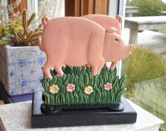 Vintage Pig Napkin Holder - Cast Iron Pink Pig Letter Holder / Organizer - Retro Farm House Kitchen Home Décor Eco Friendly Pig Lovers Gift