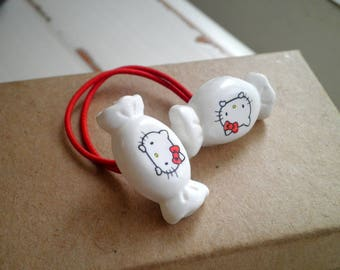 Vintage Sanrio Hello Kitty Ponytail Holder - 80s Kawaii Candy Elastic Hair Tie / Pigtail / Pony Tail Holder / Bracelet Cat Jewelry Gift -