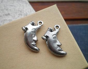 Crescent Moon Locket Pendants - 2 Aged Silver Moon Face Charms - Bohemian Locket Jewelry Making / Crafting Supply, Celestial Boho Half Moons
