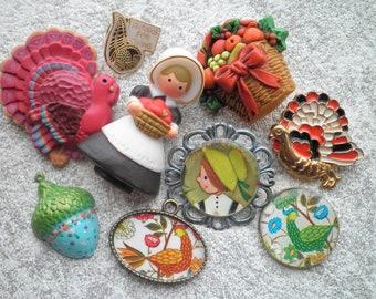 Fall Thanksgiving Brooch + Charm Lot - 9 Vintage & Handmade Kitschy Jewelry Destash Mix, Turkey Acorn Pilgrim Girl Thanksgiving Dinner Feast