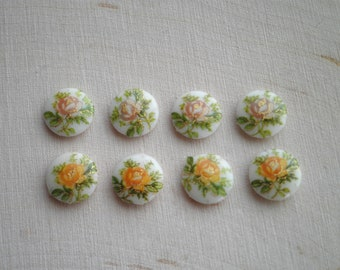 Vintage Flower Cabochon Lot - 8 Floral Glass Cabochons / Embellishments - Retro Mid-Century Jewelry Making Crafting Supply - Tiny 4 cm. Cabs