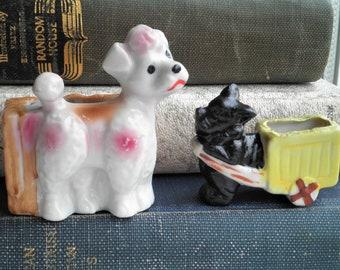 Vintage Dog Toothpick Holder / Planter / Vase - Black Scottie Dog & White Poodle Figurine - Mini Ceramic Dog Retro Animal Home Decor Gift