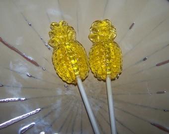 10 Juicy Pineapple Lollipops Tropical Luau Party Favor
