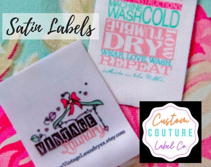 Featured listing image: Custom Satin Labels - Your Choice of Sew On Labels - Iron On Labels - Self Adhesive Labels - UNLIMITED COLORS - Made in USA