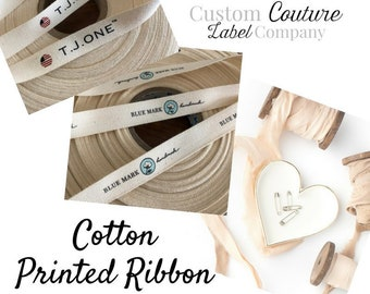 Custom Printed Cotton Ribbon - White or Natural - One or Two color imprint - 30 or 50 yards - Made in USA