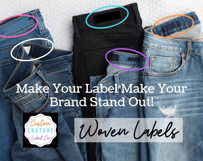 Featured listing image: Custom Woven Labels - Fashion Brand Labels - Woven Clothing Labels - Damask Labels - USING YOUR ARTWORK - Up to 8 Colors - Made in the U S A