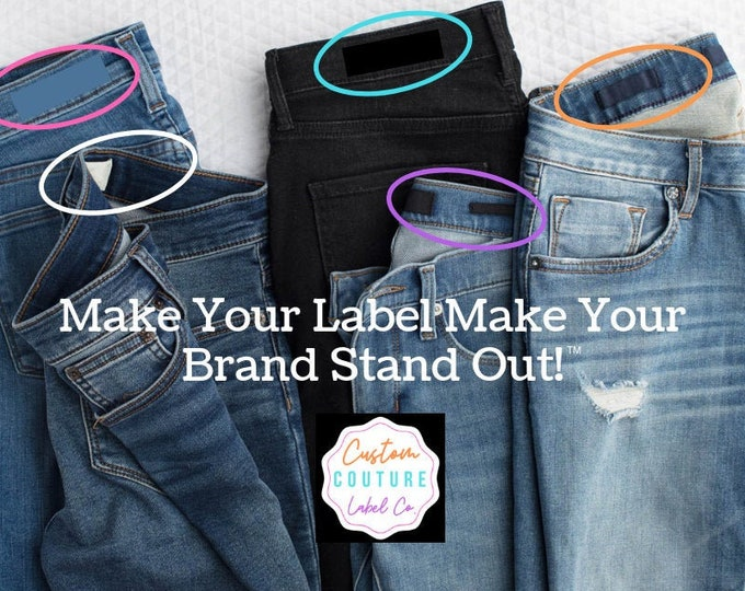 Featured listing image: Woven Labels - Clothing Labels - Damask Labels - Use Your Own Artwork - Up to 8 Colors - Made in the USA