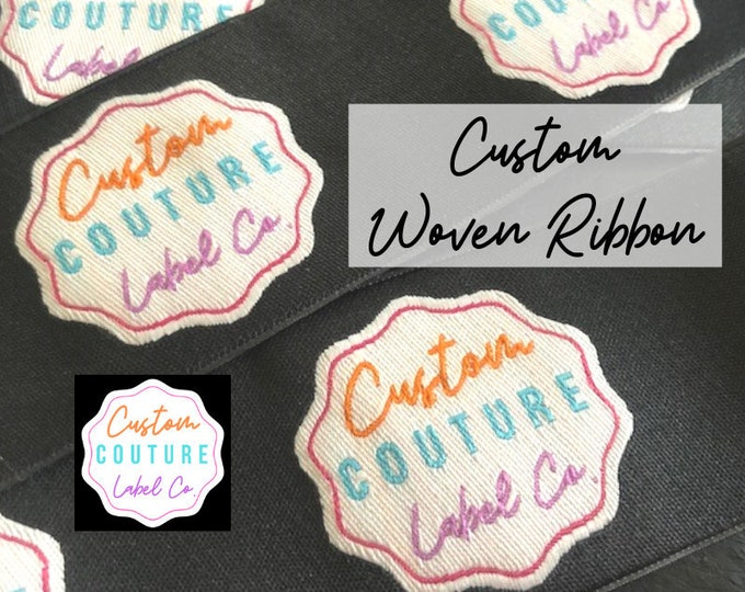 Featured listing image: Custom Woven Ribbon - Woven Tapes - Logo Woven Ribbon - Custom Ribbon Weaving - School Team Ribbons - Made is USA - Up to 5 Colors