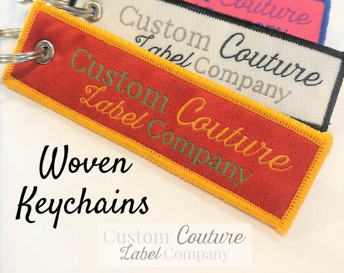 Featured listing image: Custom Woven Keychains - Woven Key Rings - Woven Key Chains - Woven Key Fobs - Custom Key Chains - Use Your Own Artwork - Up to 10 Colors