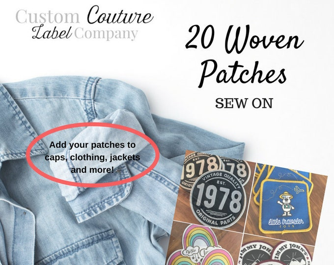 Featured listing image: 20 Custom Patches - SEW ON - Your own artwork - Up to 10 Colors - A USA Company