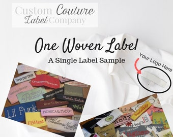 "ONE Custom Woven Label Up to 2"" x up to 4"" - Your own artwork - Up to 10 Colors - A USA Company - Single Woven Label Sample"