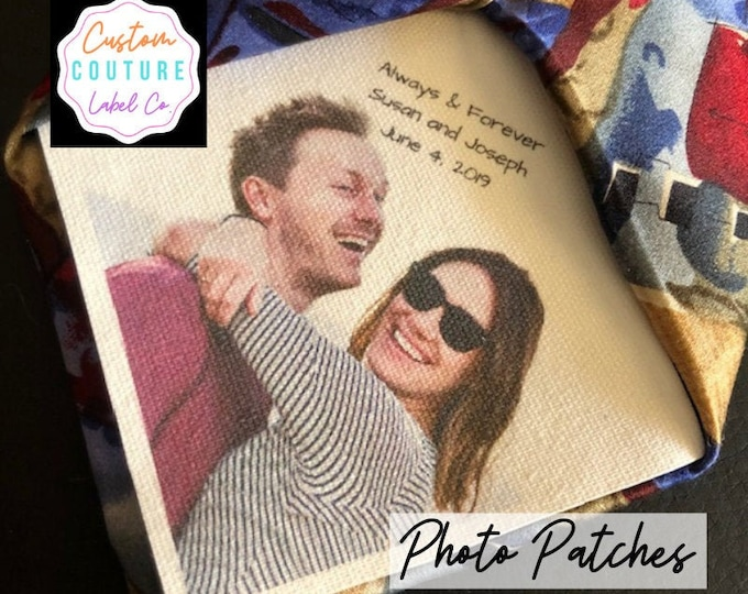Featured listing image: Tie Patch, Custom Photo Patch, Father of the Bride, Groom Gift, Custom Quilt Label, Father-Daughter Dance, Wedding Gift, Wedding Dress Label