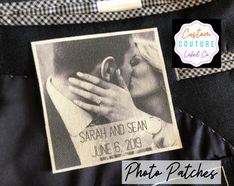 Tie Patch, Custom Photo Patch, Father of the Bride, Groom Gift, Custom Quilt Label, Father-Daughter Dance, Wedding Gift, Wedding Dress Label