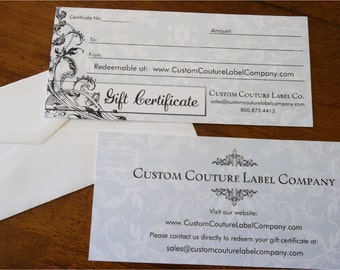 Gift Certificate to Custom Couture Label Company