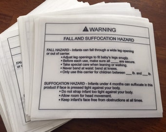 "Blank ASTM F2236 Sling Warning Labels- Soft Infant Carrier Labels- Fall And Suffocation Labels- CPSIA Labels- 4"" x 5""- Priced Per Label"