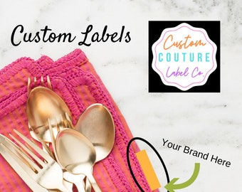 200  Custom Woven Labels - Fashion Brand Labels - Woven Clothing Labels - Sewing Tags -  Labels - Use Your Own Artwork - Up to 8 Colors