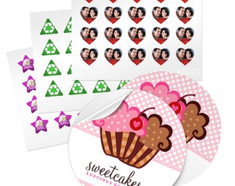 60 - 1.5 Inch Custom GLOSSY Stickers - your choice of Round- Square- Star- Heart- Triangle