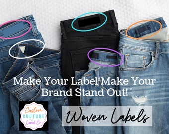 Custom Custom Woven Labels - Fashion Brand Labels - 50 - Woven Clothing Labels - Your Own Artwork - Up to 8 Colors - Made in Usa
