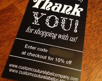 100 Custom Printed Seller Thank You Cards - Professionally offset printed - Super Thick 15pt Glossy or Matte Cards