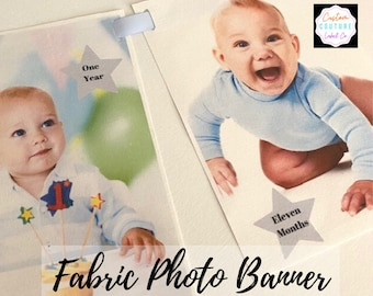 Custom Fabric Photo Banner, 1st Birthday Banner, Bridal Shower Banner, Graduation Banner, Family Reunion Banner, Wedding Banner