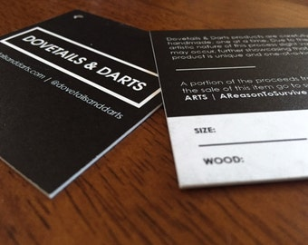 "100 Custom Printed 2.5"" Square Hang Tags  - Great High End Quality - Professionally Printed - SUPER THICK 34pt Cardstock"