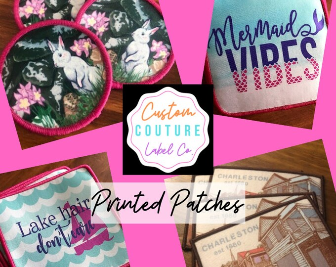 Featured listing image: Custom Patches - Printed Patches - Dye Sub Patches - Sew On Patches - Iron On Patches - Hook and Loop Patches - Velcro Brand Backed Patches