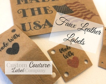Faux Leather Labels - Faux Leather Patches - Vegan Leather Labels - Made in USA