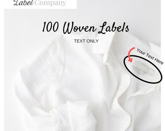 100 WOVEN  Clothing Labels - Sewing Tags - TEXT ONLY
