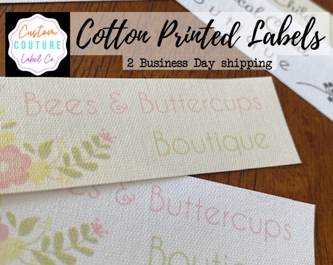 Featured listing image: Cotton Labels - 30 Cotton Printed Fabric Labels - NO FRAY - WASHABLE - White or Ivory - Quick 2 Business day Shipping!