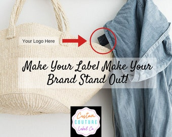 Custom Woven Labels - Fashion Brand Labels - Woven Clothing Labels - Damask Labels - Use Your Own Artwork - Up to 8 Colors - Made in the USA