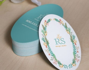 "250 Custom Printed 2""x3.5"" Oval Hang Tags  - Great High End Quality - Professionally Printed - Super Thick 14pt Cardstock"