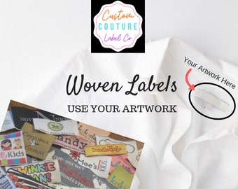 Custom Woven Labels - 50 - Woven Clothing Labels - Your Own Artwork - Up to 8 Colors - Made in the Usa
