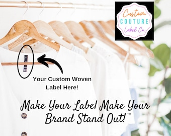 600 Custom Woven Labels - Fashion Brand Labels - Woven Clothing Labels - Your Own Artwork - Up to 8 Colors - Made in the Usa
