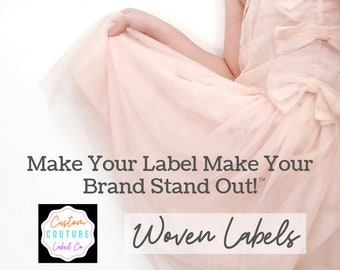 100 Custom Woven Labels - Fashion Brand Labels - Woven Clothing Labels - Your Own Artwork - Up to 8 Colors - Made in the Usa