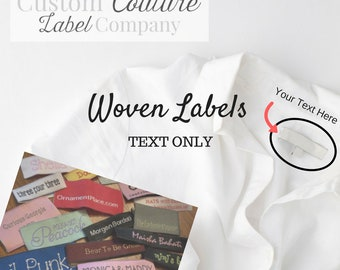 Custom Woven Labels - Fashion Brand Labels - Sewing Tags - Damask Labels - Woven Clothing Labels - TEXT ONLY - Made in USA