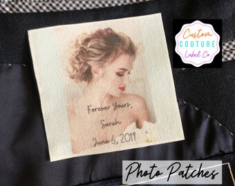 Tie Patch, Custom Photo Patch, Father of the Bride, Groom Gift, Custom Quilt Label, Communion Gift, Wedding Gift, Wedding dress Label